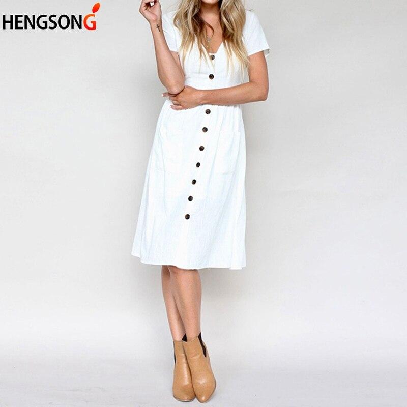 Women's Dress Fashion Short Sleeve V Neck Button Casual Loose Dress Female Down Swing Dress With Pockets Women Summer Dress