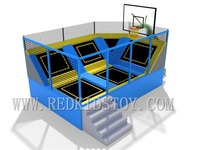 Wholesale EU Standard Small Indoor Trampoline Park With Basketball HZ LG060 700X450CM
