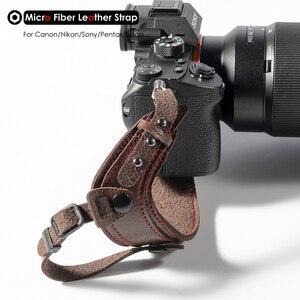 Image 3 - תמונה מצלמה מיקרו סיבי עור רצועת יד DSLR יד חגורת מחזיק עמיד הלם רצועות עבור Canon Nikon Sony Pentax לייקה