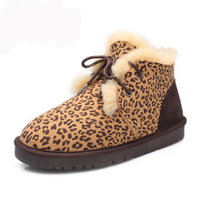 Comfortable casual suede sheepskin leopard classic lace womens snow boots thick wool warm low winter women shoes