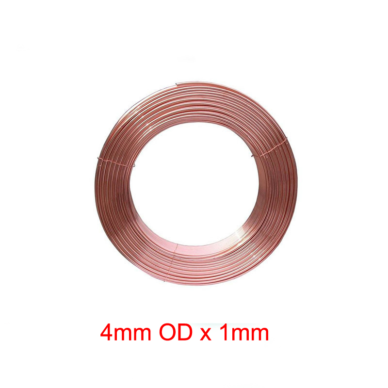 4mm Outer Diameter x <font><b>1mm</b></font> Thickness Soft copper tube metal <font><b>hose</b></font> air conditioner pipe image