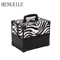 MENGXILU Women Large Capacity Professional Makeup Organizer PVC Toiletry Cosmetic Bag Multilayer Storage Box Portable Pretty