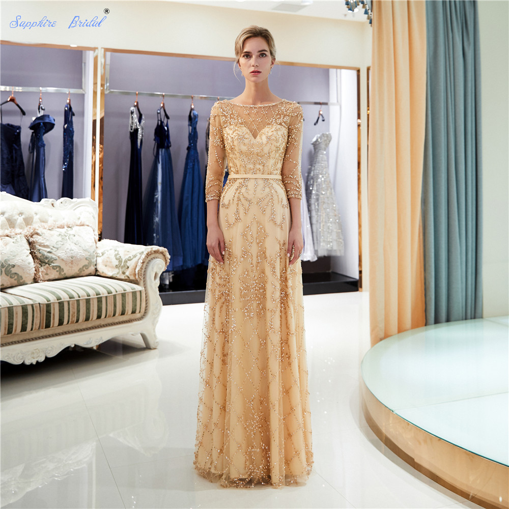Sapphire Bridal Vestido De Festa 2019 Half Sleeve Gold Navy Champagne Luxury Long Formal Gowns Beads Sexy Long   Evening     Dress
