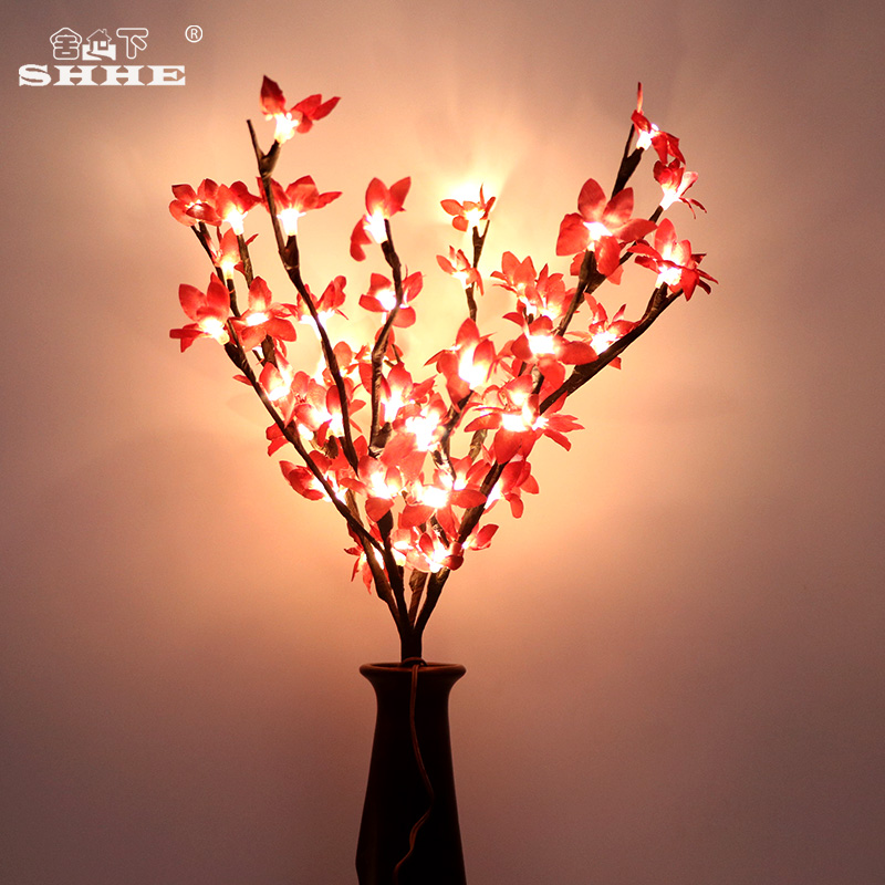 Winter Jasmine Artificial Flower Twig Branch Fl Lights 50cm Battery Blossom Decorative Tree Plants Led Branches Lighting In Holiday From