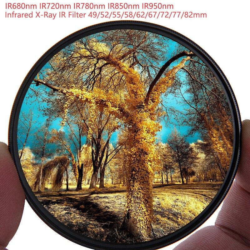 Infrared X-Ray IR Filter Camera Lens Kit IR680 IR720, IR760, IR850, IR950 Lens Kit Filter 58/62/67/72/77mm For Nikon Canon Sony