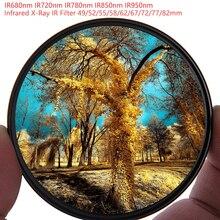 طقم عدسات كاميرا للتصفية بالأشعة تحت الحمراء بالأشعة تحت الحمراء IR680 IR720, IR760, IR850, IR950 مرشح عدة عدسات 58/62/67/72/77 مللي متر لنيكون كانون سوني