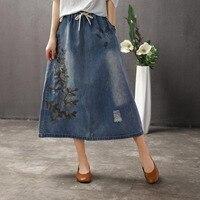 890 summer national style retro washed hole women denim skirt female elastic waist embroidery leaves large size skirts long girl