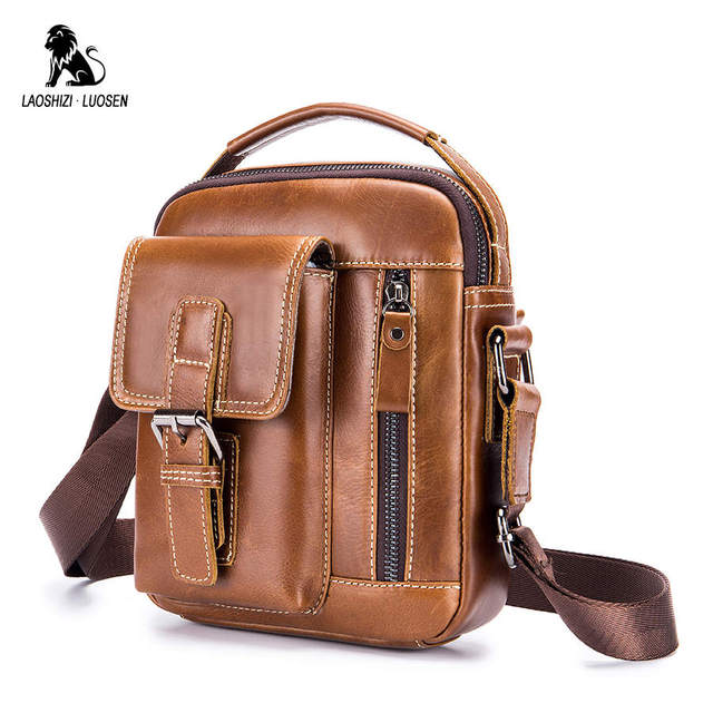 LAOSHIZI LUOSEN 2020 ماركة جلد طبيعي حقيبة كتف الرجال حقيبة ساع صغيرة عادية رفرف زيبر تصميم الذكور حقيبة كروسبودي