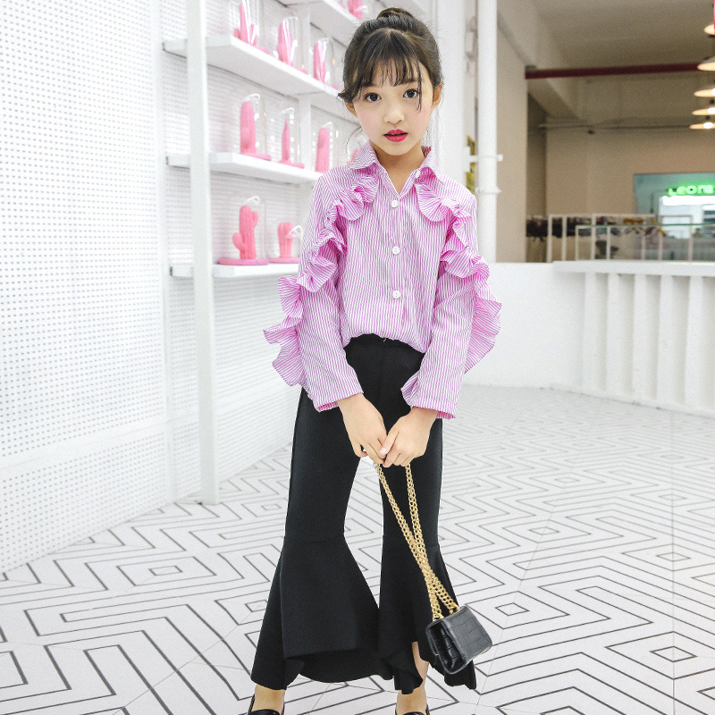 Children Clothing For Girls Teenagers Baby Girl Spring 2018 Kids Clothes For 4 5 6 7 8 9 10 11 12 13 Years Striped Shirt + Pant blouse for girls autumn clothes for teenagers 8 9 10 11 12 13 years slash neck flower girls blouse white top shirt camisa xadrez