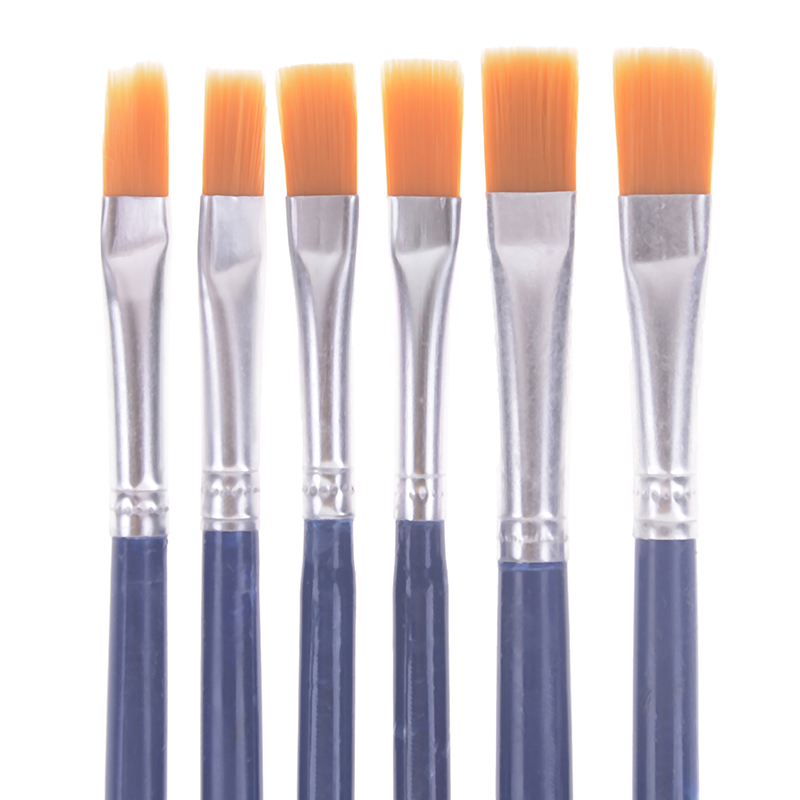 6Pcs/Set Watercolor Gouache Paint Brushes Different Shape Round Pointed Tip Nylon Hair Painting Brush Set Art Supplies