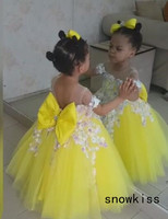 Puffy gold yellow tutu flower girl dress off the shoulder baby kids 1st birthday wedding party ball gowns princess prom with bow