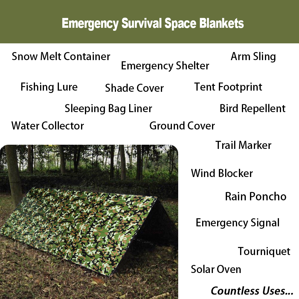 1pcs Emergency Blanket Survival Gear Mylar Camo Wooldand White Survival Thermal Blankets foroutdoors Hiking Marathon Bug Out Bag ...