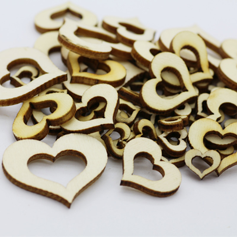 100pcs/Pack Wooden Hollow Heart Embellishments Crafts Computer Laser Cut Natural Wood Party Wedding New Year Decor Supplies