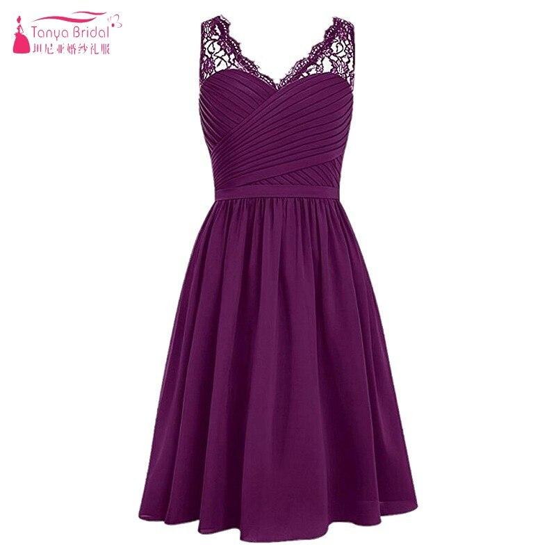 Comprar ahora Una línea barato corto vestidos de dama de longitud de ...
