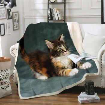 3D nadruk z kotem Sherpa koc dwuwarstwowy gruby miękki rzut koc na sofie samolot koc podróżny tekstylia do domu dla dorosłych Cobe tanie i dobre opinie Poliester bawełna Anty-pilling Przenośne Nadające się do noszenia Animal Winter Raszlowe koc Klasa a print blanket PRINTED