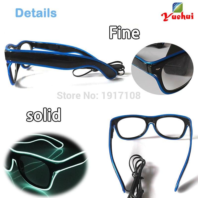 Hot 10 Color optional Fashion Sound active EL wire Sun Glasses Light up LED glasses Decor Gift For Festival Party Decoration