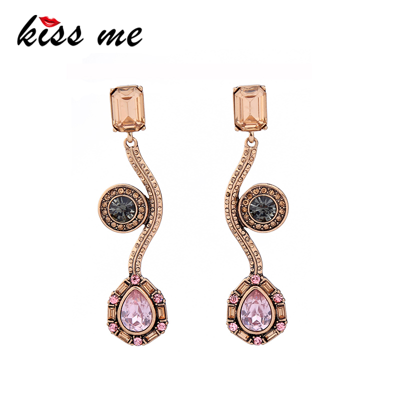 KISS ME Brand Long Earrings New Design Pink Water Drop Crystal Earrings for Women Fashion Jewelry Brincos