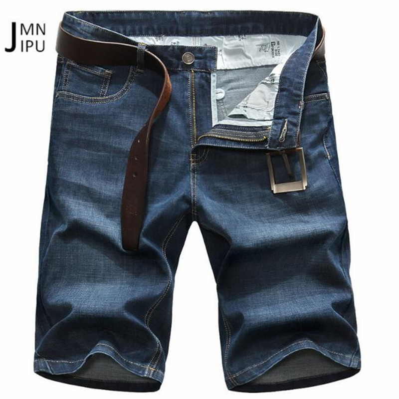 JI PU Mid Waist Summer 2018 Short Length Denim Jeans,Good Quality Fashion Mans blue 100% Cotton hombres jeans 29 to 42