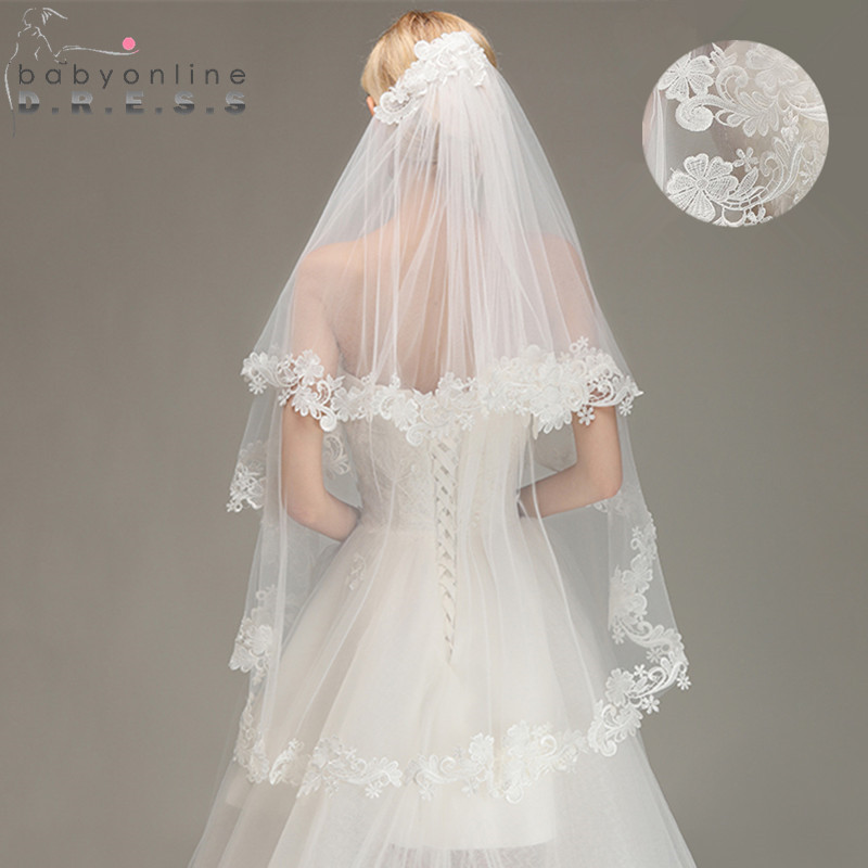 Voile Mariage 1 5M Lace Edge Short Wedding Veil with Comb Two Layers Tulle Bridal Veil