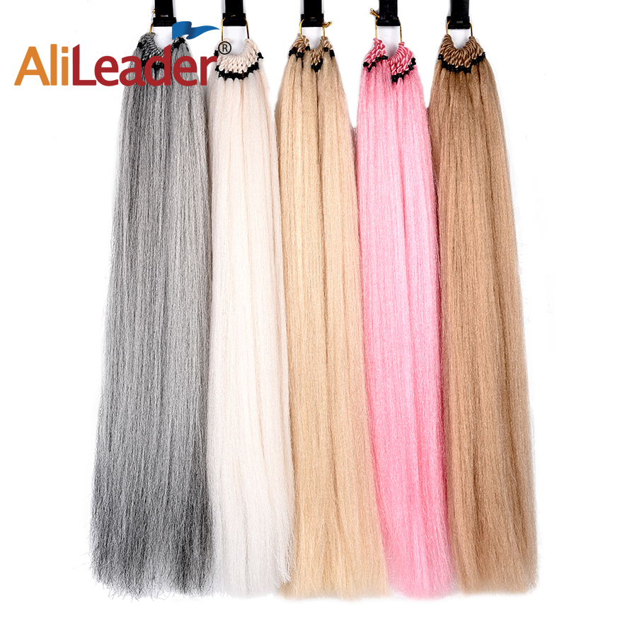 AliLeader 24Inch Blonde Pink Brown Natural Yaki Straight Pre-Looped Synthetic Crochet Braiding Hair Extensions 25 Strands/Pack