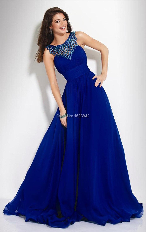 Vestidos de noche azul largo