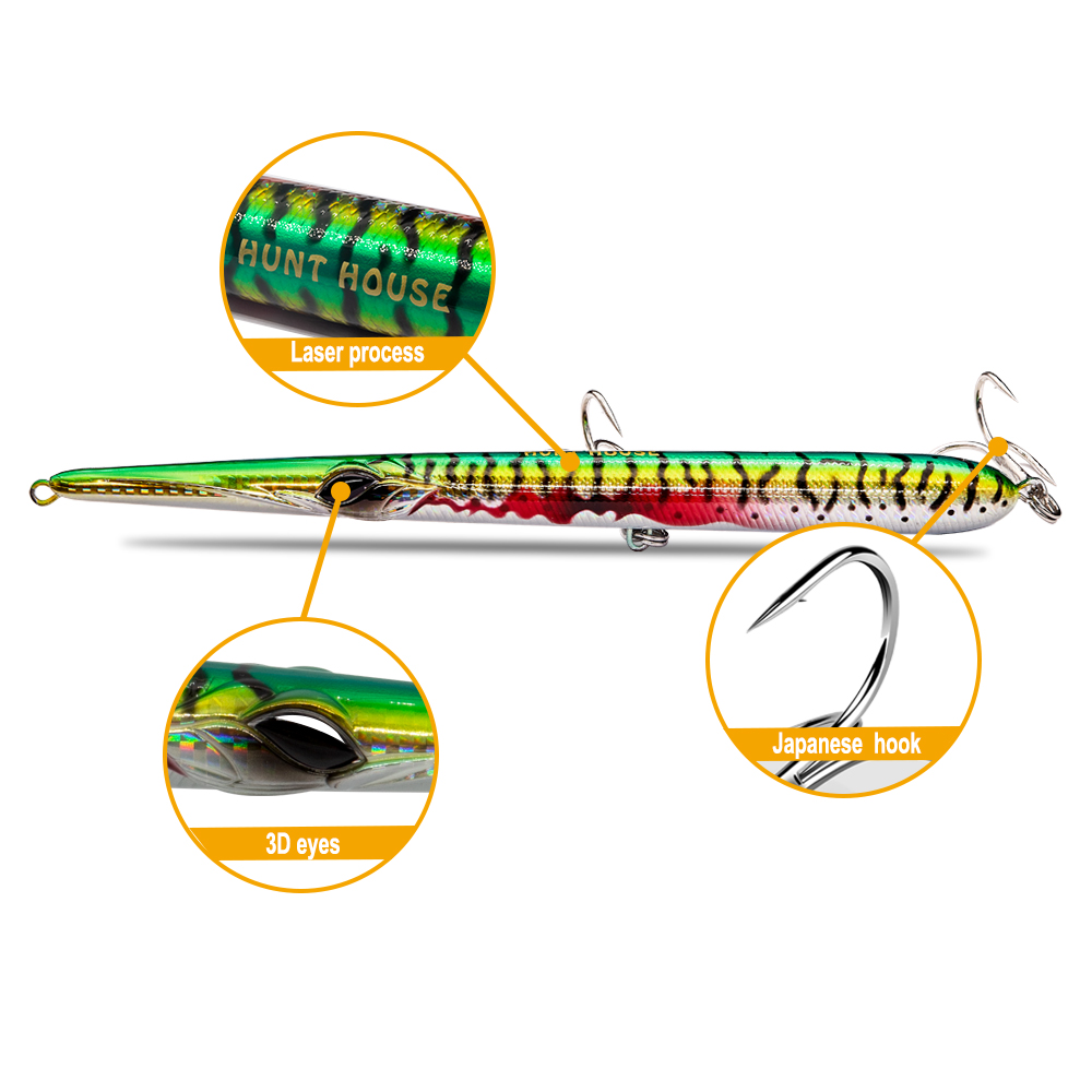 Image 4 - Hunthouse needle stylo fishing lure long casting pencil stickbait floating&sinking 205mm 31/36g skipping garfish sphyraena pesca-in Fishing Lures from Sports & Entertainment