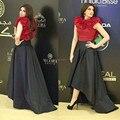 Высокий Низкий Платья Знаменитостей Саудовская Арабский Красный Цветок Вечерние Платья 2017 Сшитое Черный Короткие Рукава Вечернее Платье Красная Ковровая Дорожка платье