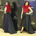 High Low Celebrity Dresses Saudi Arabic Red Flower Evening Gowns 2017 Custom Made Black Short Sleeve Party Dress Red Carpet Gown