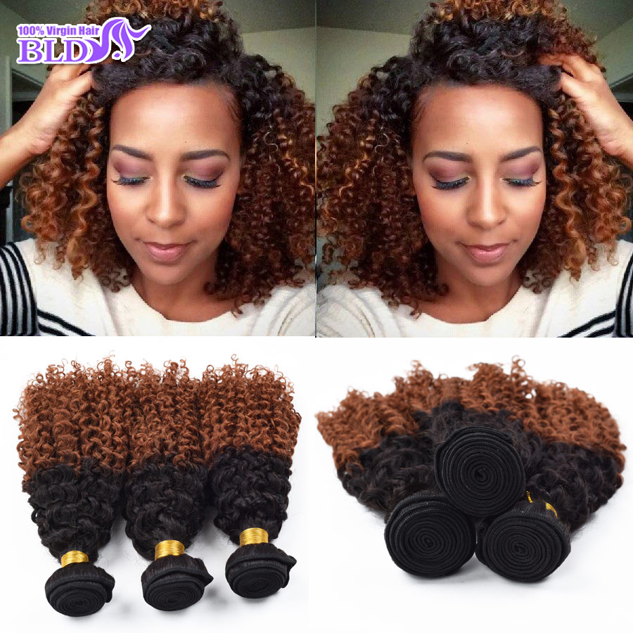 3 Bundles Brazilian Deep Curly Virgin Hair Quality 7a T1B/30 Ombre Black Dark Brown Weave Sexy Formula