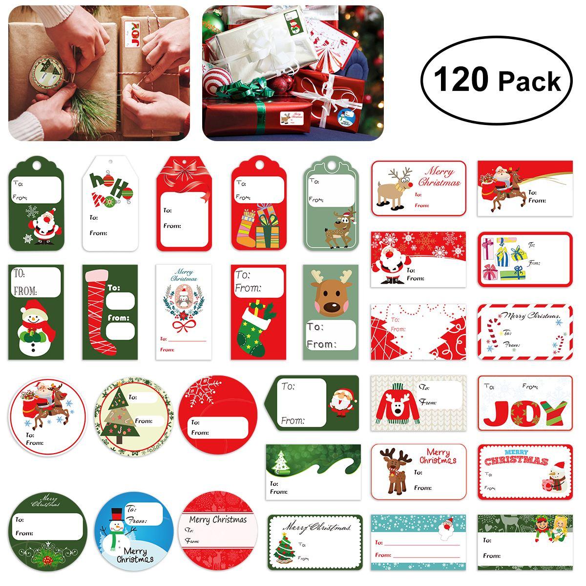 4bd3edf7f 120 x Tinksky regalo etiqueta pegatinas Navidad autoadhesivo regalo  etiqueta pegatinas surtido diseños vacaciones regalo etiquetas