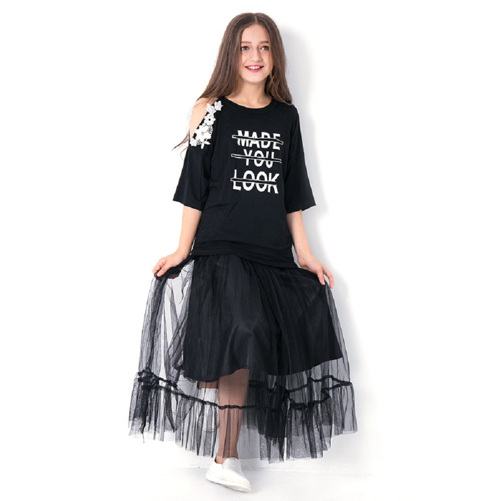Teen Girls Clothing Sets 10 11 12 14 years Girls Half Sleeve Summer Girls Clothes 2pcs Off shoulder Tops Black Mesh Skirts teenage girls clothing summer girls sets blingbing tops star skirts 2 pieces sets kids clothes fashion girls clothes 10 12 year