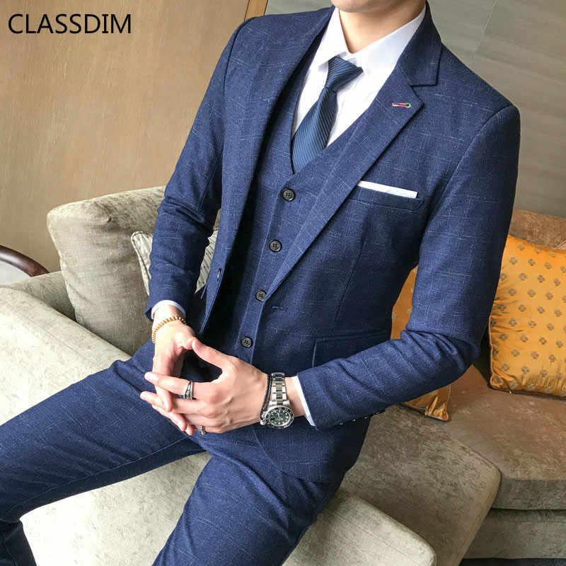 Мужские костюмы и блейзеры хорошего качества, пиджак + жилет + брюки, Мужская официальная одежда, Нарядные Костюмы, Синие Клетчатые блейзеры, костюмы из 3 предметов
