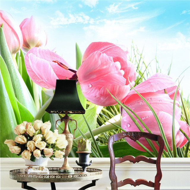 Elegant Pink Tulip Photo Wallpaper 3D Flower Wall Mural Custom Natural Scenery Design Your
