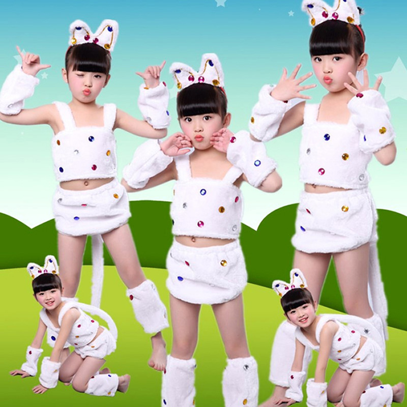 NEW Kids Girls plush White Cat costume children animal cartoon halloween Cosplay Fancy Dress Party ear headband Apparel baby
