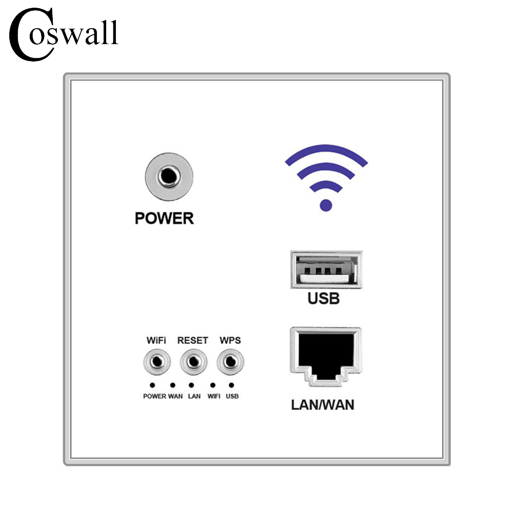 COSWALL 300M Wall Embedded Wireless AP Router USB Charging Port 1500mA Output Wall WIFI Routeur Panel Socket shierak 300m wall wireless ap router usb charging port 1000ma output smart wall wifi router panel socket 10a