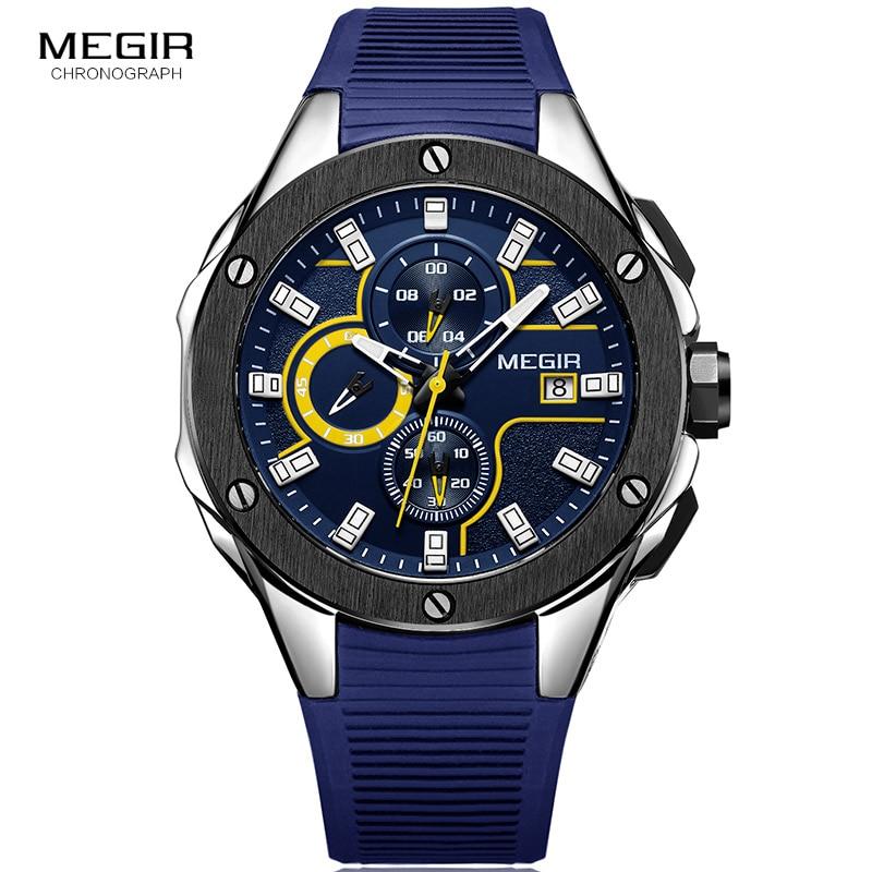 Megirメンズスポーツクロノグラフクォーツ腕時計シリコーンストラップ発光防水軍ミリタリー腕時計男レロジオ2053ブルー