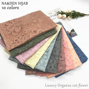 2019 NEW cotton organza scarf cut flower hijab fashion women scarves and shawls brand wrap soft muffler luxury islamic hijabs