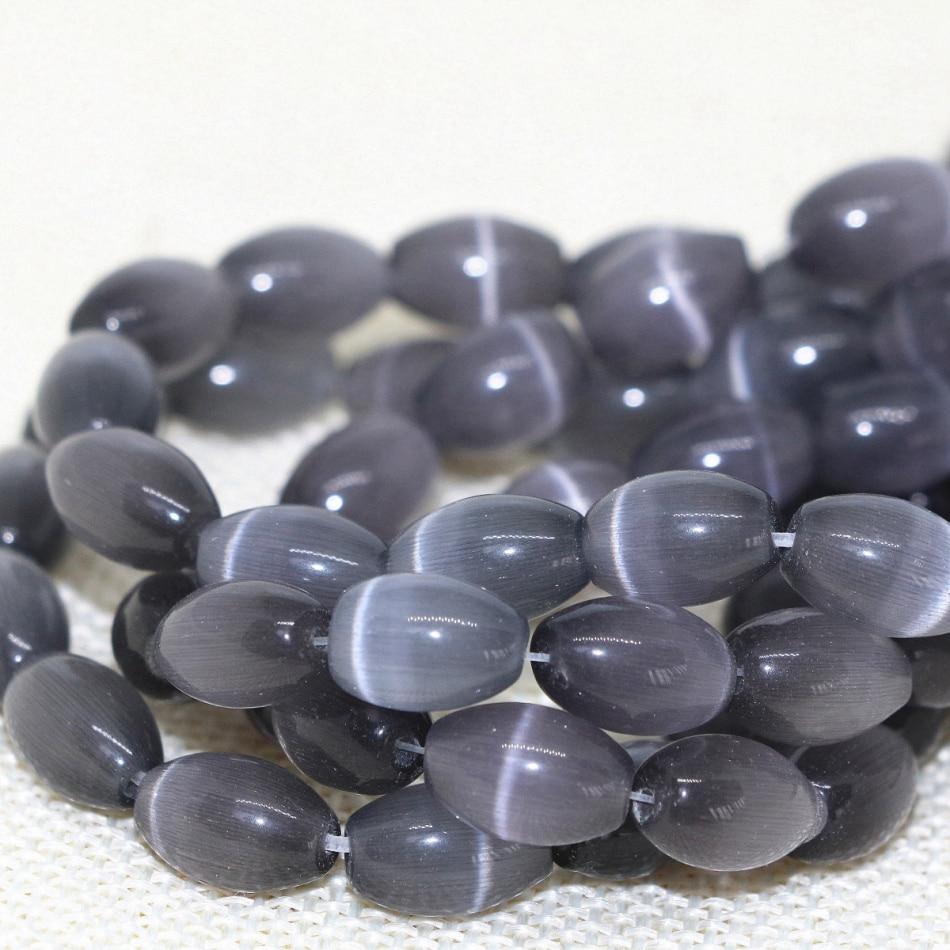 High Grade Dark Gray Opal Rice Barrel Beads Cat's Eyes Stone Crystal 8*12mm Fashion Wholesale Price Charms Jewelry 14inch B1559