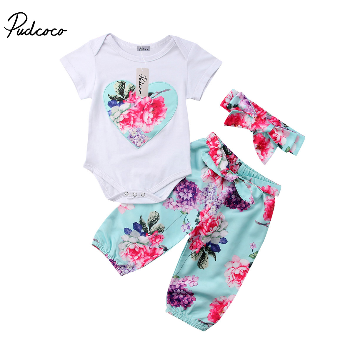 Pudcoco Newborn Baby Girls Clothes Floral Cotton Tops Romper Floral Pants Headband Outfits Summer Toddler Clothing