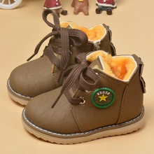 2017 spring new children's shoes children's cotton shoes boys and girls boots thick plush thick warm shoes snow boots