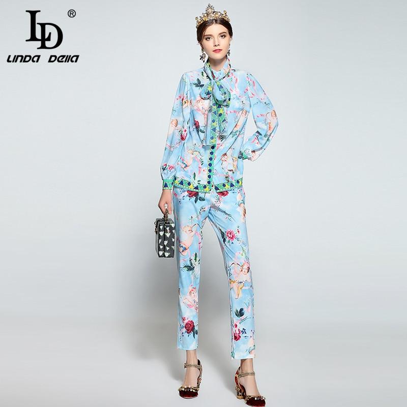 LD LINDA DELLA Designer Runway Pants Suit Women's Long Sleeve Bow Collar Print Blouse + Casual Trousers Suit Two Pieces Set