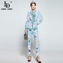 LD LINDA DELLA Designer Runway Pants Suit Women s Long Sleeve Bow Collar  Print Blouse + Casual Trousers Suit Two Pieces Set 6b151762a80b