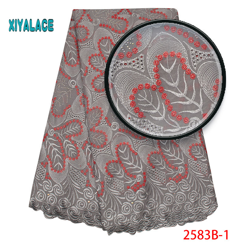 African Lace Fabric 2019 High Quality Lace Voile Lace Fabric New Design Swiss Voile Lace Switzerland Add Stones YA2583B-1
