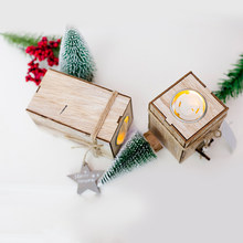 Christmas Decorative Lanterns Wood Candlestick Candle Holder With Hanging Star Tree Decoration Wedding Home Decor Gift