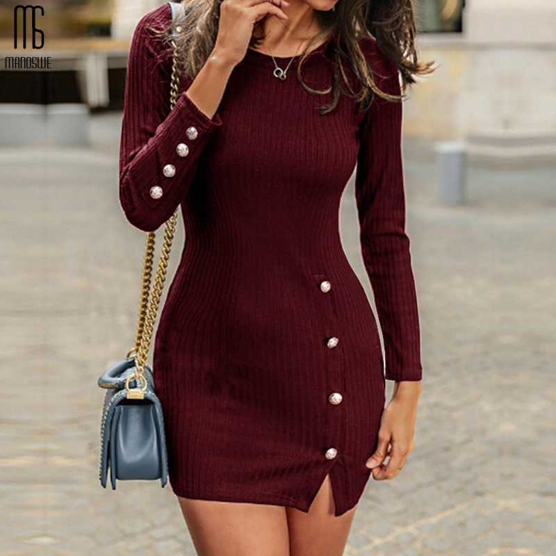 Manoswe <font><b>Sexy</b></font> knitted Long <font><b>Sleeve</b></font> Sweater <font><b>Dress</b></font> Women Plus Size <font><b>Casual</b></font> Four-color Bodycon <font><b>Dress</b></font> Autumn and <font><b>Winter</b></font> Pullover <font><b>dress</b></font> image