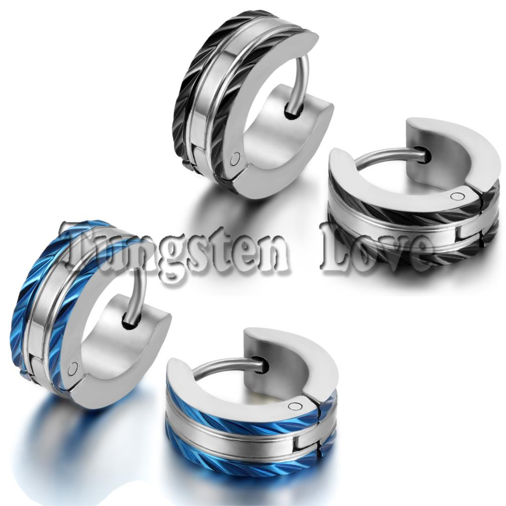 1 Pair Fashion Mens 316l Stainless Steel Huggies Hoop Earrings Whole Penntes Aros Hombre Black Blue Color Selectable
