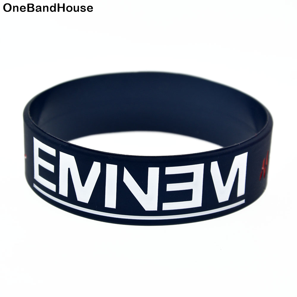 Onebandahouse 1pc Marshall Mathers Eminem Silicone Bracelet 1 Inch Wide Adult Size Bangle