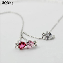 Drop Shipping 925 Sterling Silver Triangle Colorful Rhinestone Pendant Necklaces