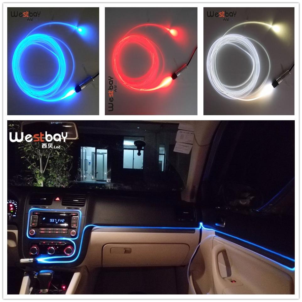 Westbay 3W Optic Fiber Light Source Kit 3.0mm*2m Transparent Fiber Optic DC12V Mini LED Optical Fiber Light Car Decoration