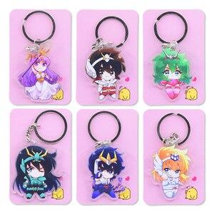 Image 1 - Saint Seiya Keychain Double Sided Cartoon Keyrings Cute Anime Acrylic Pendant Accessories PCB248 253